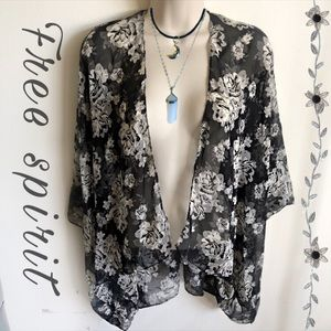 Black White Floral Boho Chic Cover Up Cardigan